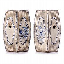 Pair of footstools in Chinese sandstone, Guangxu