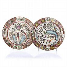 Pair of plates 'pheasants' in Chinese porcelain, Minguo