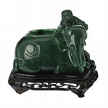 Brushwater 'child with elephant' in spinach jade, Minguo