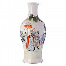 Vase 'Emperor with court' in Chinese porcelain, Guangxu