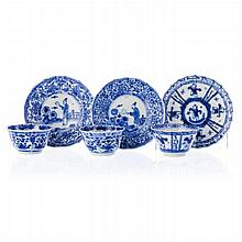 Three blue-on-white teacups and saucers, 'figures', Chinese porcelain, Kangxi