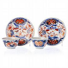 Pair of teacups with saucers 'chickens' in Chinese porcelain, Kangxi