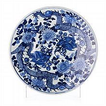Plate 'dragons' in Chinese porcelain, Tongzhi
