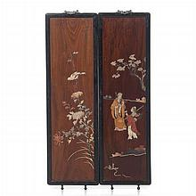 Pair of figurative Chinese plaques with hard stones, Minguo