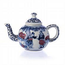 Miniature teapot 'warriors' in Chinese porcelain, Guangxu