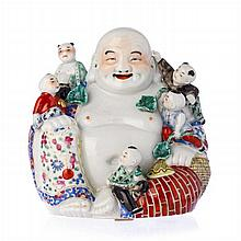 Smiling Buddha with children in Chinese porcelain, Minguo