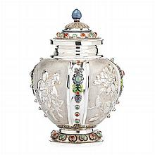 Chinese silver and enamel figurative Pot
