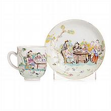 Cup with saucer 'European figures' in Chinese porcelain, Qianlong