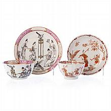Two teacups with saucers 'figures and erudites' in Chinese porcelain