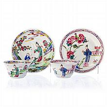 Two teacups with saucers in Chinese porcelain, Yongzheng