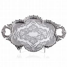 Polylobed silver tray with a pierced gallery