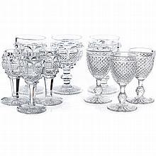 Set of twenty-one 'bubbles' aperitif glasses, 19th century