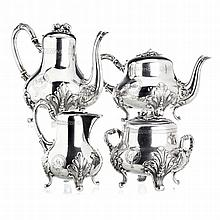 Coffee and tea set in French silver