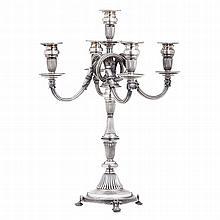 Serpentine chandelier in silver