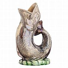 'Carp' vase in faience from  Caldas, M. Mafra, 19th century