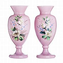 Pair of vases in opaline glass