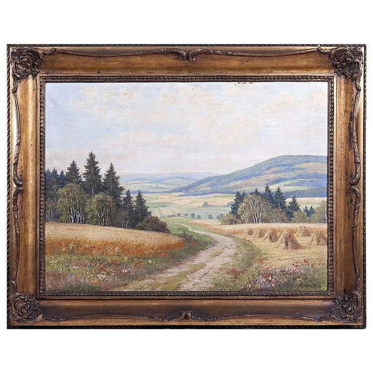 GERMAN SCHOOL 19th Century - 'Landscape with haystacks'