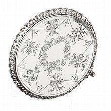 Small silver salver with a pierced gallery