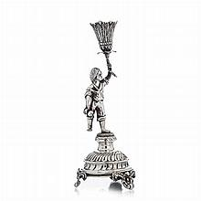 Figurative toothpick holder in silver