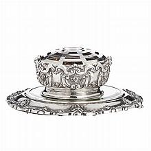 Centerpiece with plateau in silver