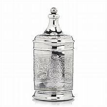 Pot with lid in silver