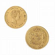 Gold 1000 Reis coin D Pedro V