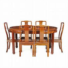 Dining table and six chairs, Chinese, Minguo