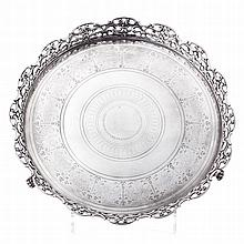 Salver with a silver pierced gallery