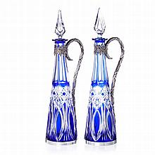 Pair of bottles in glass and boar silver
