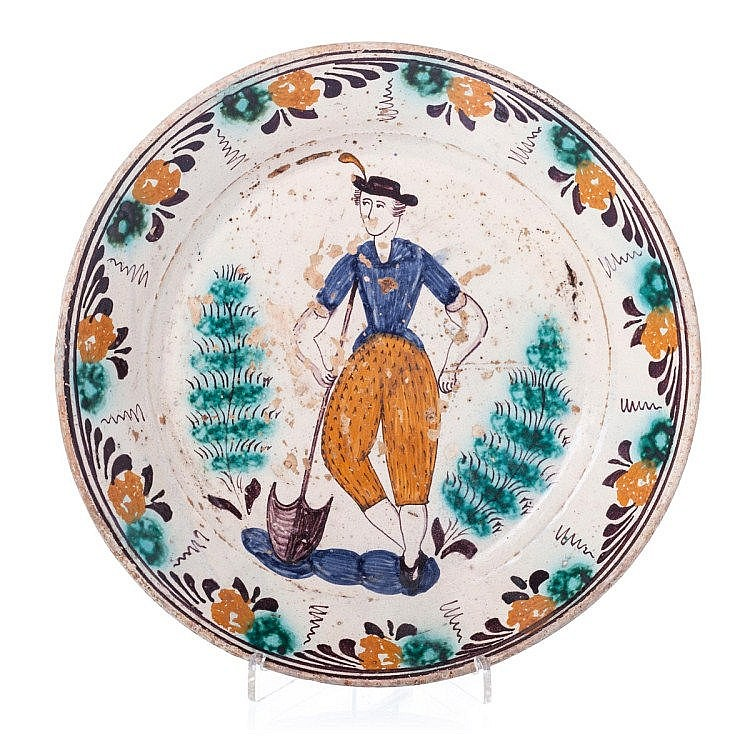 'Ratinho'plate with a figure, 19th century