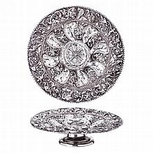 Silver foot salver, 17th century