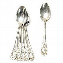 Six teaspoons in German silver