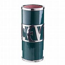 Tube vase in ceramic and silver