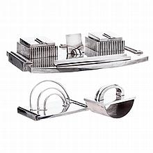 Art Deco desk set in silver