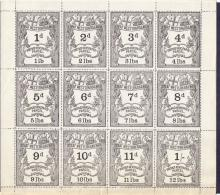 EPHEMERA : RAILWAY, a complete sheet of 12 ''Great Western Railway Prepaid Newspaper Parcel'' stamps. Each stamp has a different value & corresponding weight. Fine & rare!