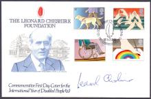 SIGNED AUTOGRAPH COVER : LEONARD CHESHIRE signed 1981 Disabled People FDC, on his own cover