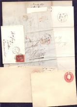 GREAT BRITAIN POSTAL HISTORY : Small batch of pre-stamp and line engraved covers, plus a couple of postal stationery items. (8)