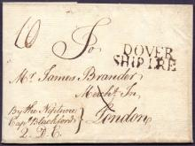 GREAT BRITAIN POSTAL HISTORY : KENT, 1773 Dover Ship Letter. Entire sent by ship ''The Neptune'' from Lisbon & addressed to London mentioning a consignment of China Oranges in 64 chests. Letter landed by 'Neptune' at Dover. Has a fine ''Dover/SHIP LRE'' two line cachet (S 1a).