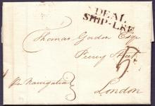 GREAT BRITAIN POSTAL HISTORY : KENT, 1790 Deal Ship Letter. Entire ''Per Navigation'' from Westmorland, Jamaica. Landed at Deal and forwarded to London. Has a fine ''DEAL/SHIP-LRE'' cachet in black (S 4).