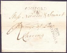 GREAT BRITAIN POSTAL HISTORY : KENT, 1801 entire sent from Maidstone to Charing. Has a Maidstone & Ashford straight line handstamps with boxed mileage.