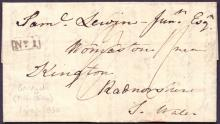 GREAT BRITAIN POSTAL HISTORY : KENT, 1830 entire from Sandgate, has a boxed ''No.1'' Sandgate receiver mark & a faint ''Folkestone/Penny Post'' handstamp on the reverse flap.