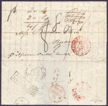 GREAT BRITAIN POSTAL HISTORY : KENT, 1834 Gravesend Ship Letter. Entire sent from Valparaiso, Chile via ''African Packet'', landed at Gravesend & sent via London to Bordeaux, France. Has a fine ''Gravesend/Ship Letter'' boxed cachet (S 9) with London transit & Bordeaux arrival datestamps.Also has a 8fr 9oc charge handstruck in black. Fine item!