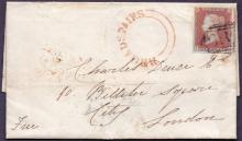 GREAT BRITAIN POSTAL HISTORY : KENT, 1846 entire with 4 margin imperf 1d red sent from Broadstairs to London. Has a fine Broadstairs undated circular handstamp in red.