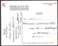 GREAT BRITAIN POSTAL HISTORY : KENT, 1946 Prisoner of War printed card sent from Langdon Barracks, Dover to Germany. Fine!