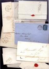 GREAT BRITAIN POSTAL HISTORY : KENT, Canterbury - selection of pre-stamp & QV wrappers & entires, inc ''Canterbury Penny Post'' (boxed & un-boxed), No.7 (Herne Bay) receiving office mark (2) etc. (19 items)