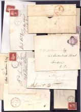 GREAT BRITAIN POSTAL HISTORY : KENT, Folkestone selection of entires & envelopes with pre-stamp items & QV. Includes Folkestone sideways duplex (4) on 1d red covers, 1822 Folkestone Penny Post handstamp, 1831 Folkestone straight line handstamp etc (10)