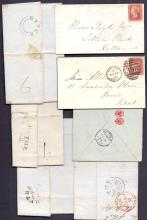 GREAT BRITAIN POSTAL HISTORY : KENT, Hythe selection of pre-stamp & QV entires & envelopes. Inc 1825 entire with ''Hythe/83'' handstamp, 1894 envelope sent from Folkestone to School of Musketry, Hythe, 1837 Hythe undated circular handstamp on entire to Charing etc (7)