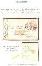 GREAT BRITAIN POSTAL HISTORY : KENT, small QV collection of Folkestone covers written up on pages, inc scarce Folkestone sideways duplex (type II) on 1d postal stationery envelope, Folkestone square circle datestamp on 5d Jubilee issue addressed to India etc (9)
