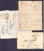 GREAT BRITAIN POSTAL HISTORY : KENT, three entires all from Hayes, Kent. Inc 1845 entire with fine Hayes undated circular postmark with '2' postage to pay handstamp. (3)