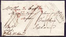 GREAT BRITAIN POSTAL HISTORY : KENT, Deal - 1826 Oct entire, arriving 1827 Mar, with a fine ''India Letter/Deal'' boxed cachet. Addressed to Dublin, Ireland.